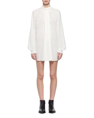 Tie-Neck Silk Poet-Sleeve Minidress