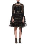 Metallic-Striped Lace Cocktail Dress, Black/Gold