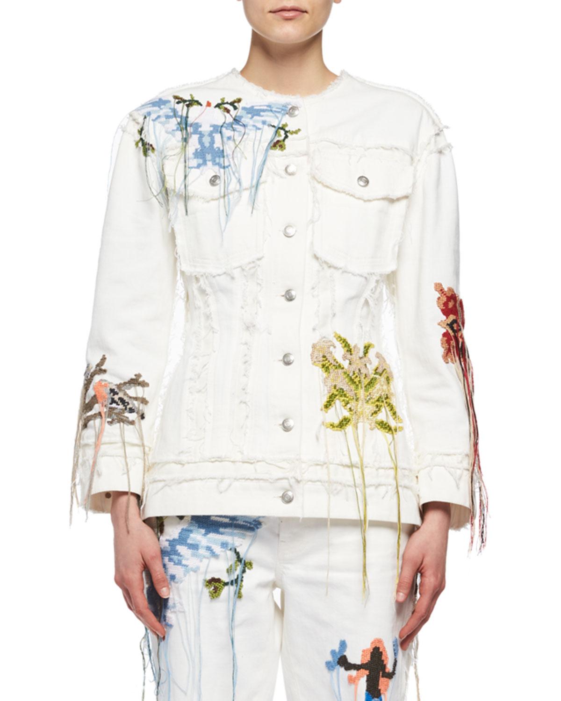 Needlepoint Embroidered Denim Jacket