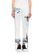 Needlepoint Embroidered Cropped Wide-Leg Jeans