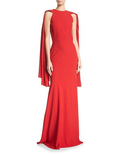 Crepe Draped-Shoulder Gown
