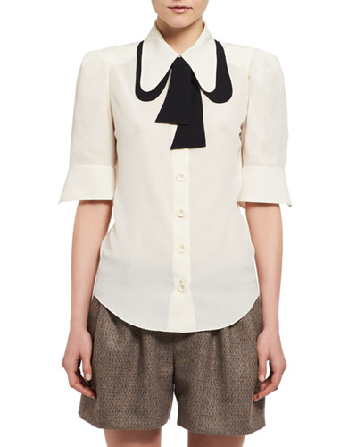 Contrast Tie-Neck Silk Shirt, White/Black