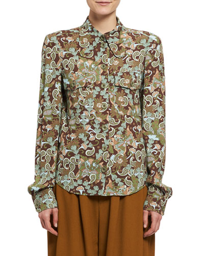Butterfly Garden Paisley Viscose Shirt, Brown