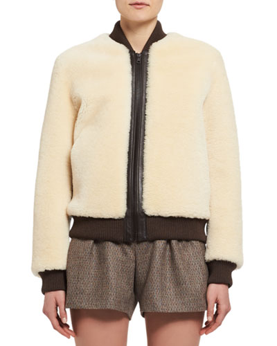 Teddy Bear Shearling Bomber Jacket, White