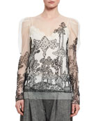 Dreamscape Embroidered Tulle Top