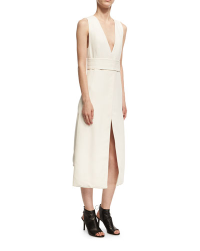 Sleeveless Viscose V-Neck Dress with Slits, White