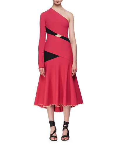 One-Shoulder Exposed Bandage Midi Dress, Fuchsia