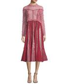 Mock-Neck Ruffled Lace Midi Dress