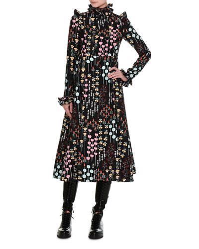 Flower Stem Pleated Midi Dress