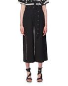 Belted Wool Zipper-Detail Culottes, Black