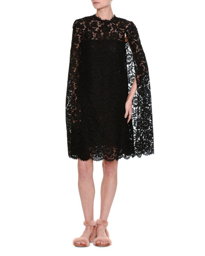 Floral Lace Cocktail Cape Dress