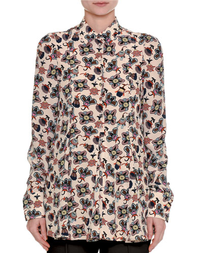 Pop-Flower Printed Silk Shirt
