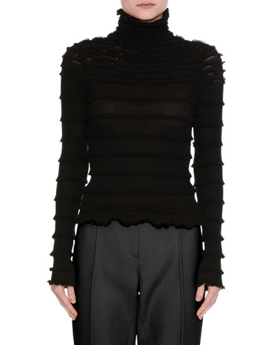 Ruffled Long-Sleeve Turtleneck Top