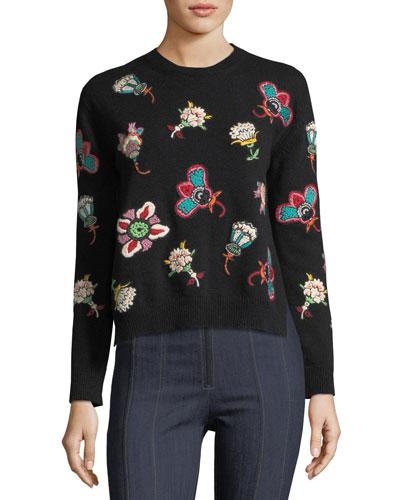 Embellished Lace-Yoke Virgin Wool Sweater