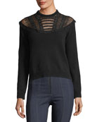 Pop-Flower Embroidered Wool-Cashmere Sweater