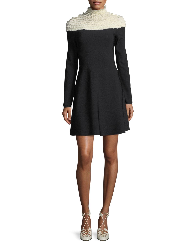 Smocked Knit Mock-Neck Dress