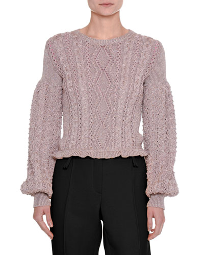 Metallic Cable-Knit Blouson-Sleeve Sweater