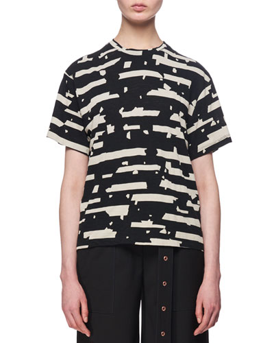 Boxy Graffiti-Print Cotton T-Shirt, Black/White