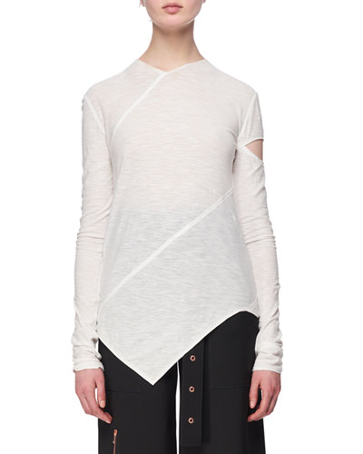 Long-Sleeve Spiral Tissue Jersey T-Shirt, White