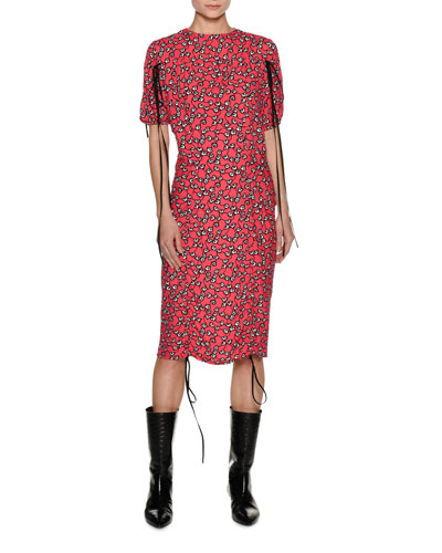 Rose Vine-Print Midi Dress with Tie Details, Red