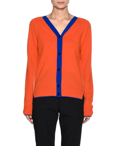 Contrast-Trim V-Neck Cashmere-Blend Cardigan, Orange