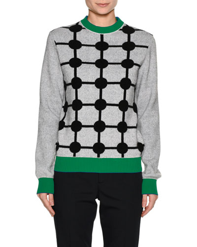 Dot-Print Wool-Cashmere Sweater with Contrast Trim, Gray