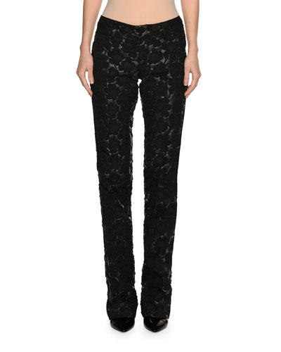 3D Floral Slim Pants, Black