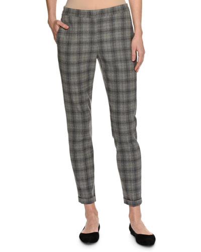 Plaid Virgin Wool Slim Ankle Pants