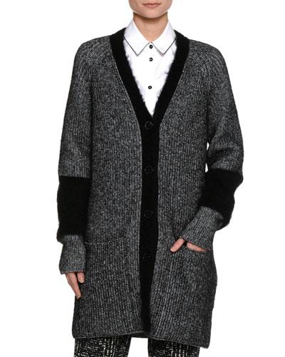 Mohair-Blend Cardigan Coat