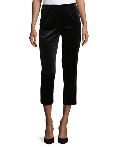Audrey Straight-Leg Velvet Cropped Capri Pants