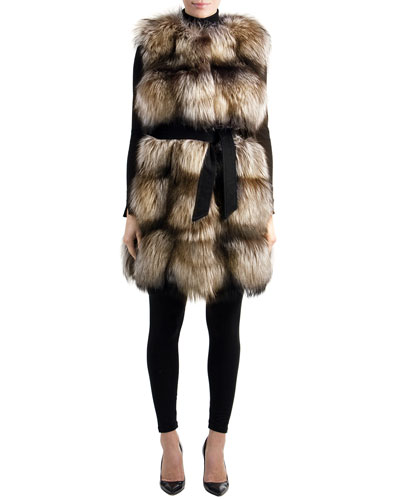Gorski Belted Fox-Fur Long Vest with Suede Inserts