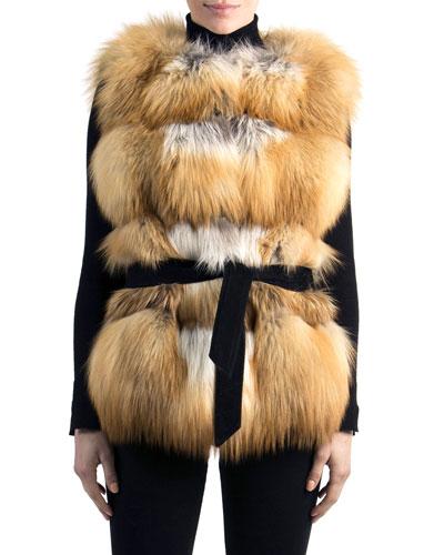 Belted Fox Fur Vest