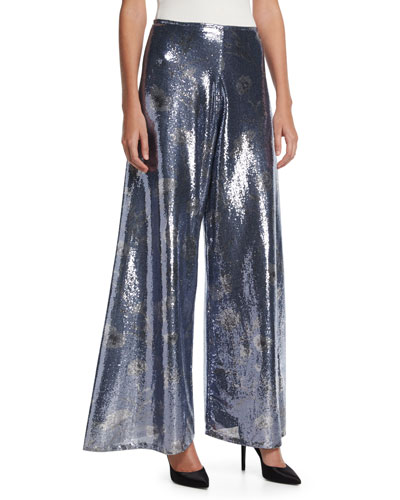 Floral Sequined Wide-Leg Pants