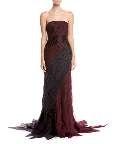 Strapless Organza Bias Gown