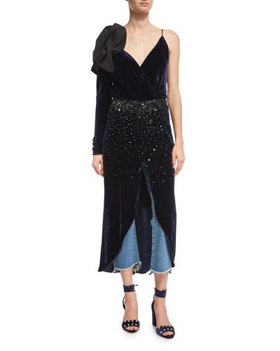 Carmelilla Embellished Velvet Bow-Shoulder Dress