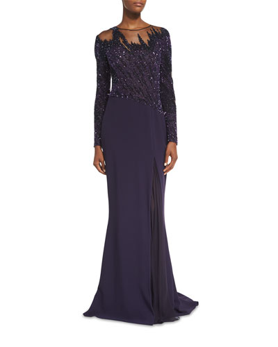 Brushstroke-Beaded Godet Gown