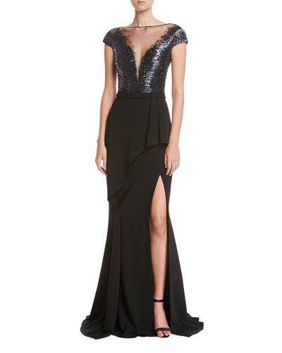 Short-Sleeve Beaded Combo Gown