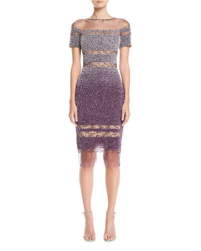 Short-Sleeve Ombre Sequined Cocktail Dress