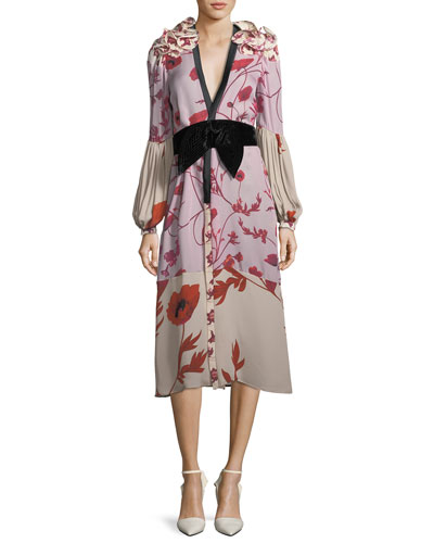 Bellfolia Poppy-Print Silk Kimono with Velvet Belt