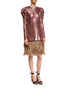 Aurora Sequined Puff-Shoulder Dress with Feather Hem