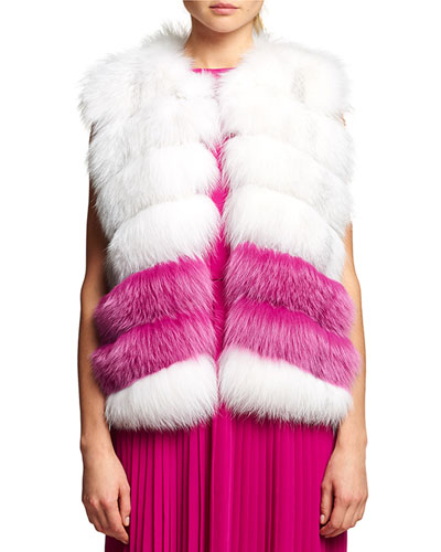 Fox Fur Chiffon-Trim Vest