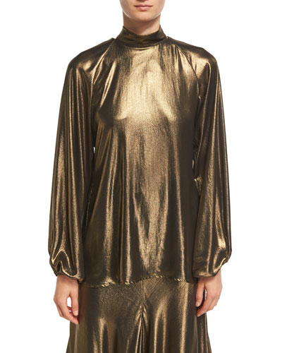 Rolling Metallic Foil Mock-Neck Blouse