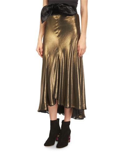 Stones Belted Metallic Foil Midi Skirt