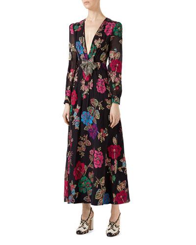 Flower Garden Fil Coupé Gown