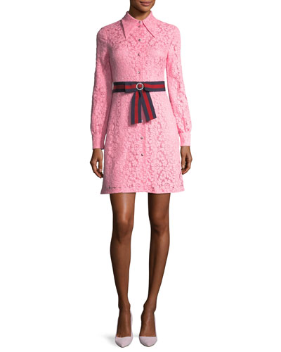 Cluny Lace Dress with Web Waistband, Pink
