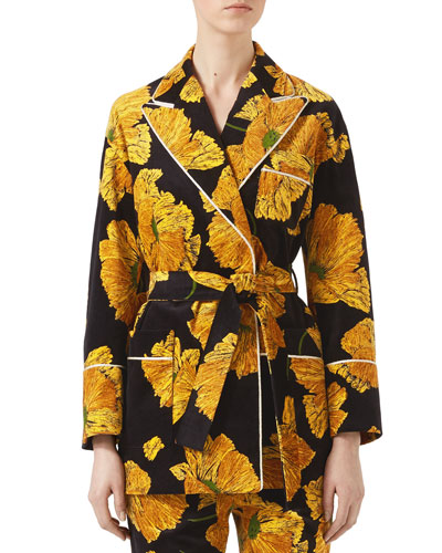 Poppy Print Velvet Jacket, Black/Yellow