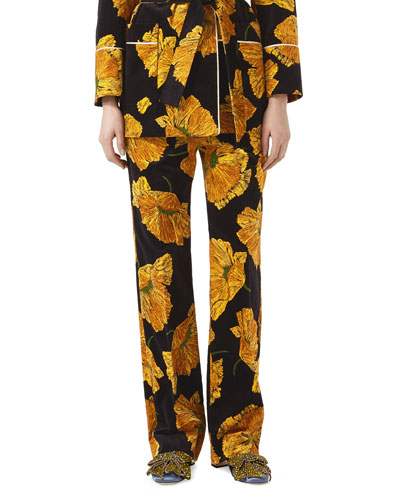 Poppy Print Velvet Pants, Black/Yellow
