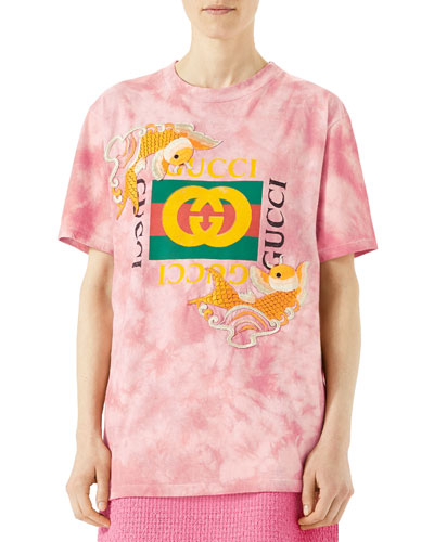 Oversize T-Shirt With Embroidered Fishes, Pink