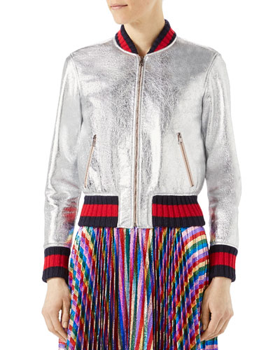 Crackle Leather Bomber Jacket, Silver