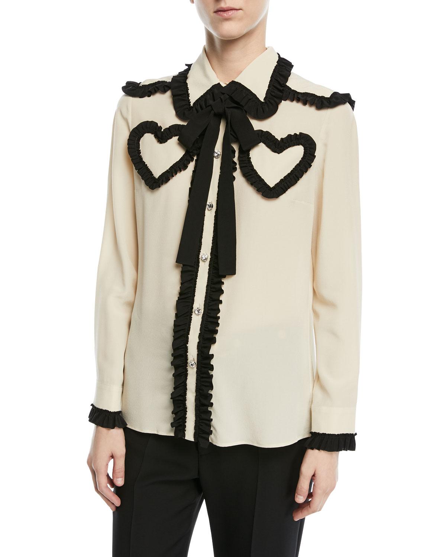 Silk Shirt with Ruffle Details, White/Black